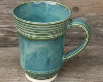 16 OZ Coffee or Tea Mug, Ocean Green Drip,  Natural Patina High Fire Stoneware, Hand Painted, Ready To Ship