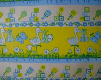 Vintage 1960s Gift Wrap Baby Shower Wrapping Paper-1 Sheet-Storks Deliver