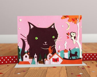 Cat Card - Cat Illustration Greeting Card - Owl Card - Animal Friends Card - Pink Card - Cat Art