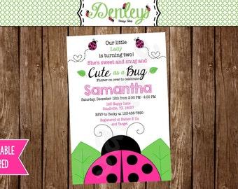 Pink Ladybug Invitation (LB03)