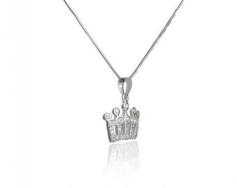 Sterling Silver Pendant Crown Shaped with White Zircon