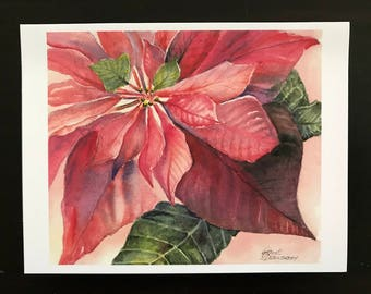 "Poinsettia, Red Christmas Flower,Poinsettia  Christmas Card, Giclee Art Print of Christmas Poinsettia 4.25""x 5.5"" by Janet Dosenberry"