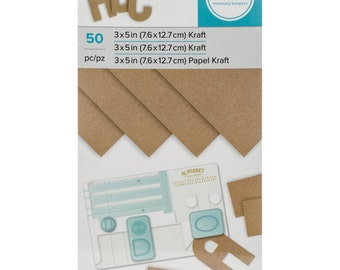 """Kraft Index Cards - We R Memory Keepers Kraft Paper Pad - Fifty 3""""x5"""" Cardstock Sheets"""