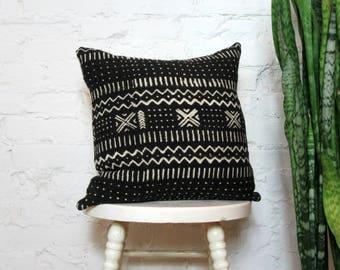 Schwarzer Baum Kissenbezug mit Creme Druck / afrikanische Schlamm Tuch Bogolanfini schwarz und weiß Handwerker dekorative werfen Kissen Global-Dekor