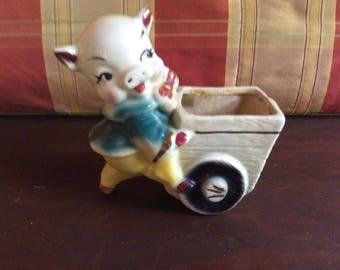 Vintage Ceramic Yellow Pig Planter with Wagon