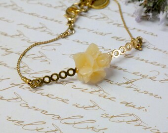 Bridesmaid Gold Jewelry, Gold Bridal Bracelet, Cherry Blossom Bracelet, Bridesmaid Mother Gift, Flower Girl Bracelet, Plum Blossom Jewelry