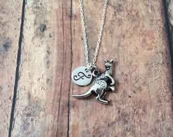 Kangaroo initial necklace - kangaroo jewelry, Australia necklace, zoo animal necklace, marsupial jewelry, Australia jewelry, silver kangaroo