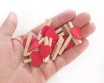 12 mini heart clothespins - natural wood clothes pin - small photo wood clip - wedding favors - red heart clip - party favor - embellishment