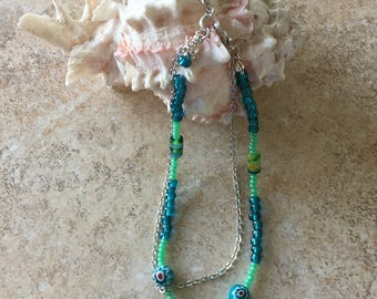 Ankle Bracelet/Women Green Ankle Bracelet/Anklet/Womens Anklet Bracelet/Body Jewelry/Womens Jewelry/Summer Jewelry/Jewelry