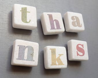 Thanks Magnets - Thank you gift - Thanks Fridge Magnets - Thank you Letters - Letter magnets - Teacher Gift - Thank you teacher gift