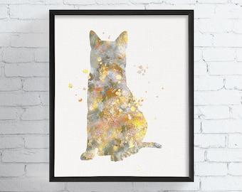 Egyptian Mau Art Print, Watercolor Egyptian Mau, Watercolor Cat Print, Cat Painting, Cat Wall Art, Cat Home Decor, Cat Lover Gift,, Framed