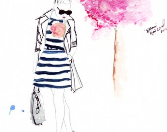 Digital Download -  Watercolour fashion illustration Titled In Bloom