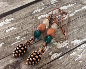 Pine Cone Earrings, Autumn Earrings For Women, Girlfriend Gift Under 20, Nature Jewellery, Fir Cone Gift For Woman, Boho Unique Earrings