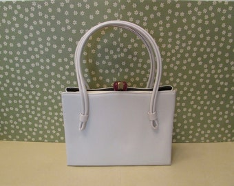 Vintage After Five White Faux Leather Handbag or Evening Bag With Black Satin Coin Purse
