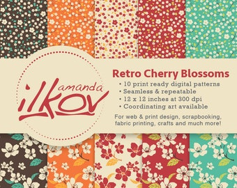 Retro Cherry Blossoms Seamless Digital Scrapbook Papers for Scrapbooking, Crafting and More - by Amanda Ilkov