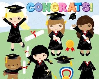 Graduation Clipart ,Preschool, Kindergarten graduation Clip art , Graduate, Grad clip art/ INSTANT DOWNLOAD (CG031)