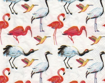 EXOTIC birds 1 lunch size paper towel 233