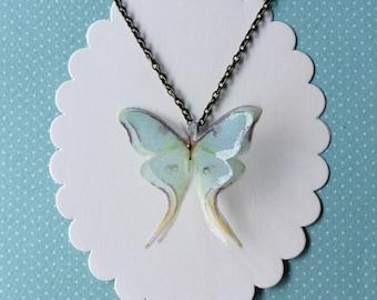 Solitary - Handmade Luna Moth (Actias Luna) Silk Organza Butterfly Moth Necklace
