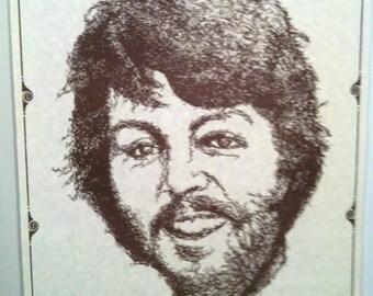 McCartney Karikatur 70er Jahre Plakat mit Pauls Signatur