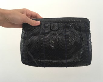 Vintage Navy Blue Snake Skin Leather Crossbody Bag 1980s Clutch Clemente Small Purse