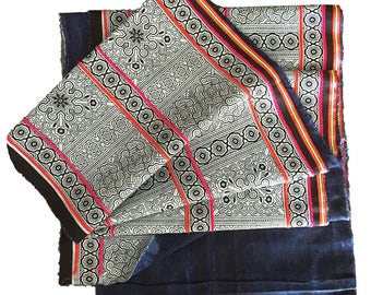 Hmong Fabric Print, White Traditional Design on Black cotton with skinny braid: 2.48 metres