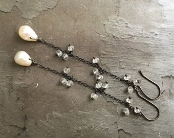 Long Pearl Drop Earrings - Aquamarine Earrings - Oxidized Sterling Silver Earrings - Dressy Earrings - White Pearl Earrings -Dainty Earrings