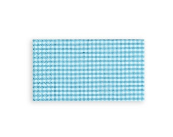 Paper decoupage.  Napkin serviette for decoupage x 1.  Turquoise and white check. No 1005