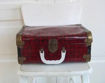 Vintage Plaid Case, Red Plaid Box, Metal Tartan Box Case, Small Plaid Case, Red Suitcase, Plaid Train Case, Vintage Metal Tartan Suitcase