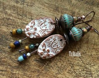 Rustic Artisan Ceramic 'Peasant' I earrings n315 - raw nature . organic . artisan made .ooak . gypsy . hippie . woman face . white patina