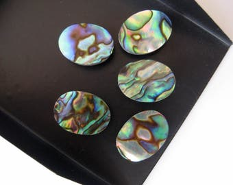 10 Pieces Natural Abalone Shell Oval Shaped Cabochons, Black Mother of Pearl Flat Back Gemstones Cabochons, 9x11mm Each, BB150