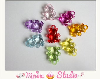 10 Teddy bear acrylic charms shiny 20x15mm mixed color
