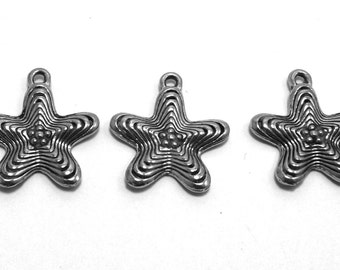 Three (3) Pewter Star Charms - Free Shipping in the US - 0070
