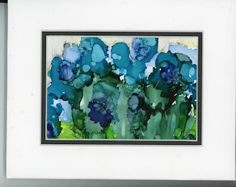 Floral Painting, Alcohol Ink Art, Matted Painting with a double mat, Abstract Flower, contemporary art