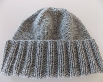Womens Wool Knit Hats - Light Gray - Convertible Collection - Wool Knit Hats - READY TO SHIP!