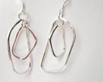 Sterling silver handmade drop earrings, hallmarked in Edinburgh