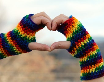 Rainbow Hand Warmers - Gay Pride - Rainbow Pride - LGBTQ -  Fingerless Gloves - Arm Warmers - Texting Gloves - Fingerless Mittens