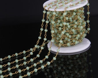 10 Feet Green Beaded Chain Nickel Plated Transparent Faceted Glass Rondelle Beaded Rosary Chain Jewelry
