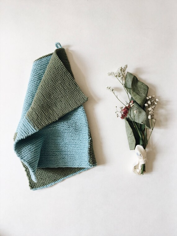 Hand knitted baby hand towel - workshop me knitted dishcloth