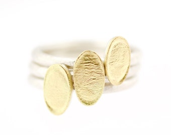 Lichen Oval Flat Stackable Ring Sterling Silver 18K Gold Recycled Metal SINGLE