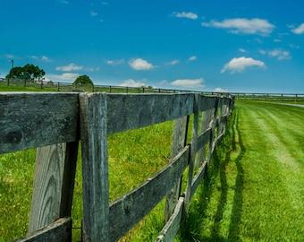 Open Field Rustic Fence in Goochland Virginia, Blue Sky Photo, Landscape Photo Art, 8x10 Photo, Framed Photography Option