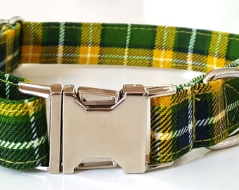 Dog Collar - Green Plaid Check Dog Collar