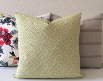 Yellow citrine geometric maze decorative pillow cover