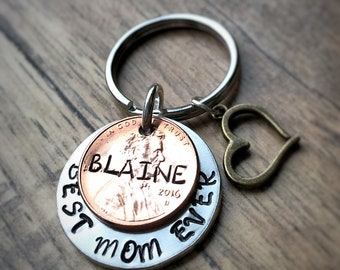Best Mom Ever, Gift For Mom, Gift for Grandma, Personalized Gift, Gift for Her, Childrens Names, Hand Stamped, Penny Keychain, Mom Gift