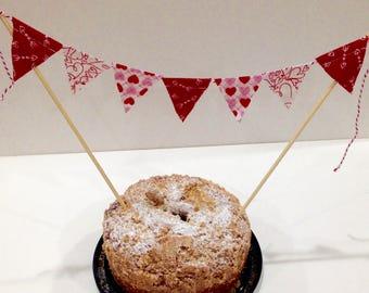 WEDDING CAKE TOPPER--Love Banner--Valentine Party--Valentine Cake Banner--February 14--Wedding Anniversary--Wedding Shower--Red White Pink