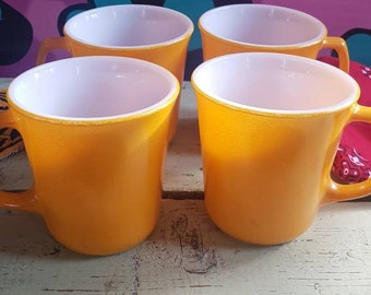 Vintage 1970s Yellow Diner Style Coffee Mugs