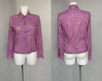 80s Purple Golden Blouse, Versace-like Print Shirt, 90s Pattern Top, Long Sleeve Shirt, Retro Vintage Blouse, Baroque Style Top, Small Top
