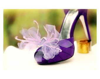 Bow Shoe Clips Amethyst Lavender Purple / Ivory / White / Neon / Something Blue / Red / Fuschia. Bride Bridal, Autumn Dainty Couture Fashion