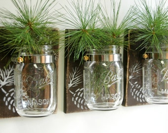 Pinecone Wall Decor Trio Three Mason jars mounted on recycled wood shabby chic rustic wall decor