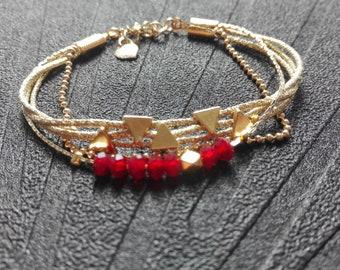 Gold and Red multi strand bracelet