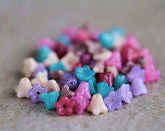 Czech Glass Beads For Jewelry Making Diy Baby Bell Flower Bead Mix 6x5mm Glass Flower Beads Bead Supply Perles Perline Perlen (60pcs) NEW
